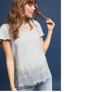 NWT Anthropologie Linen & Lace Tee